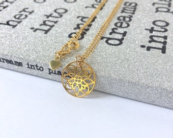 Simple Gold Necklace, Mandala Flower Pendant for Women, Flower Design, Gold Vermeil Jewellery, Gift for Girlfriend, Custom Sizes, Handmade