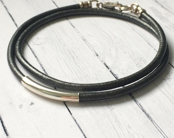 Mens Leather Necklace, Grey Cord, Sterling Silver Tube Beaded, 3mm Thong, Handmade, Custom Sizes, Gift Box, Funksion Jewellery
