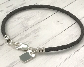 Mens Braided Leather Bracelet, 925 Sterling Silver Dog Tag Bracelet, Custom Sizes, UK Handmade with 3mm Black or Brown Leather Thong