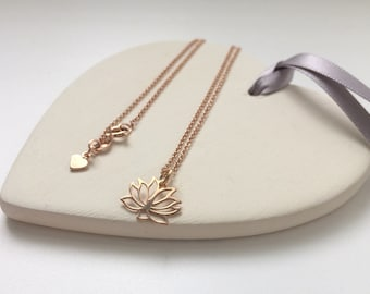 Lotus Flower Necklace, 18k Rose Gold on Sterling Silver, Vermeil Jewelry, Yoga Lover Gift, Pendant for Women, Custom Sizes, Gift Box
