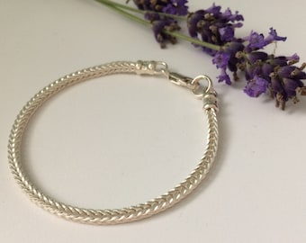 Sterling Silver Foxtail Chain Bracelet for Women, Handmade Solid 925 Silver Gift for Her, Gift Box