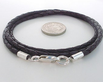 Mens Sterling Silver Leather Necklace, Black or Brown Leather Braid, Mens Leather Necklace, husband, boyfriend gift, brother gift, handmade