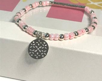 Sterling Silver Beaded Bracelet for Women with Disc Charm, UK Handmade Stretch Bead Bracelet Gift for Women, Custom Sizes, Choose Colour