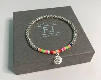 Sterling Silver 925 Stretch Beaded Bracelets for Women, Third Eye Good Luck Charm, UK Handmade Gift, Custom Sizes