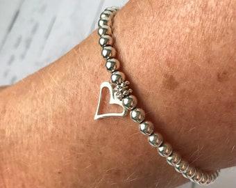 Sterling Silver Beaded Bracelets for Women, Open Heart Charm Bracelet, UK Handmade 4mm Stretch Beaded Gift for Her, Custom Sizes