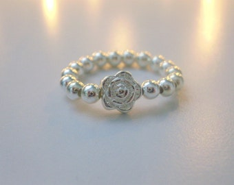 Sterling Silver Beaded Stretch Stacking Ring with Rose Flower Bead, Custom Sizes, Handmade Gift for Women, Gift Box