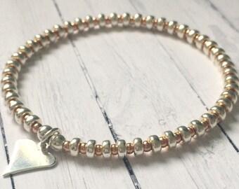 Sterling Silver & Rose Gold Vermeil Heart Charm Bracelets for Women, Sweetheart Bangle, Stretch Beaded, Handmade, Custom Sizes, Gift Box