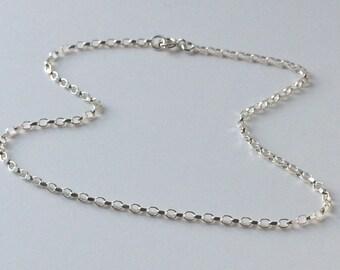 Sterling Silver Anklet Chain, Sparkling Silver Ankle Bracelet, Gift for Women, Handmade, Custom Sizes