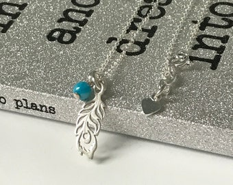 Sterling Silver Feather Pendant Charm Necklace with Turquoise Bead Detail, UK Handmade Gift for Women, Gift Boxed, Custom Sizes
