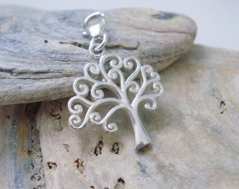 Clip on Tree of Life Charm, Pendant for Necklaces, Bracelets, Sterling Silver Charms, Bag Charms, Girlfriend Gift, Womens Gift