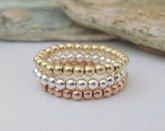 Stretch Toe Ring, Sterling Silver Ring, Rose Gold Filled Ring, Gold Filled Ring, Beaded Elastic Ring for women, Handmade, 2.5mm Ball Beads