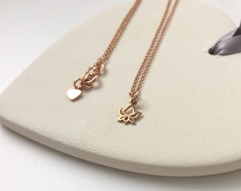 "Rose Gold Necklace, Tiny Lotus Flower Pendant, Dainty 18k Rose Gold on Sterling Silver Chain, Handmade Gift for Women, 16""/ 18"" / 20"""