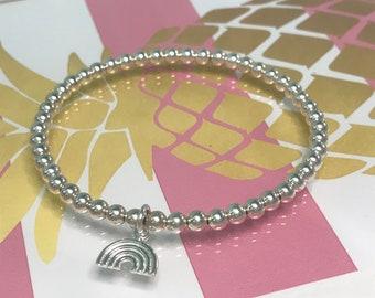 Sterling Silver Rainbow Bracelets, Beaded Charm Bracelet for Women, Lucky Charm, Hope Bracelet, UK Handmade Gift, Custom Sizes