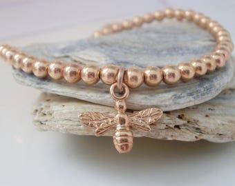 Rose Gold Filled Bracelets, Bee Charm Bracelet, 14k Rose Gold Fill 4mm Beads, Nature Jewelry Gift for Women, Gift Box, Handmade