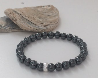 Mens Hematite Sterling Silver Bracelet, Hammered Bead, Dark Grey Beads, Gemstone Jewelry, Handmade Gift For Him, Boxed, Custom Sizes