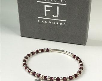 Sterling Silver Star Charm Bead Bracelet, Stretch Purple Beaded Bracelet, UK Handmade Gift for Women, Custom Sizes, Gift Boxed