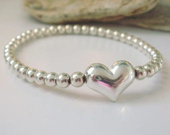 Sterling Silver Bracelets for Women, Heart Beaded, Sweetheart Bangle, Stretch, Stacking, Custom Sizes, Handmade, Gift Box