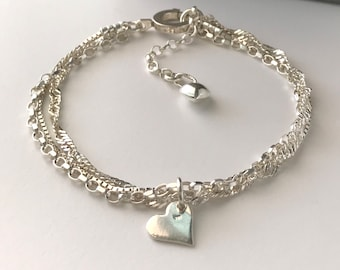 Sterling Silver Triple Chain Bracelet with Extender & Heart Charms, Handmade Jewelry Gift for Women, Custom Sizes, Gift Box