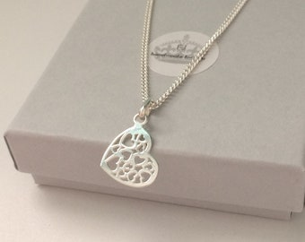 Sterling Silver Heart Necklace, Multi Heart Pendant on Dainty Curb Chain, Adjustable Length, Handmade Gift for Women
