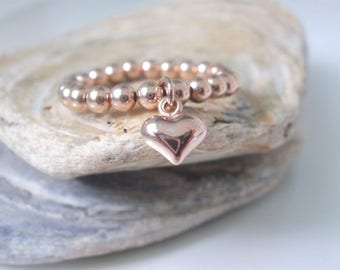 Rose Gold Beaded Heart Charm Ring, 14k Rose Gold Filled Beads, Stretch Stacking Rings, Handmade Gift for Women