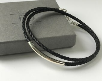 Mens Leather & Sterling Silver Beaded Necklace in Black or Brown Braided Leather, Handmade Gift for Man