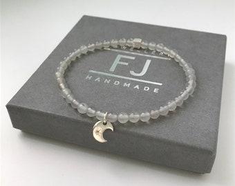 Sterling Silver Stretch Beaded Bracelet, Grey Agate Bead Intention Bracelet, Wish Jewelry, Handmade Gift for Women, UK, Custom Sizes