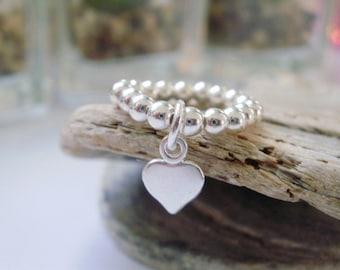 Sterling Silver Beaded Rings, Tiny Heart Charm, 3mm Ball Beads, Handmade Gift for Women, Custom Sizes, Gift Box, UK