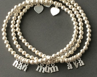 Sterling Silver Personalized Message Bracelet with Heart Charm, Initial Letters, Custom Name Jewelry, Handmade, Choose Size, Gift Box