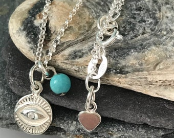 Evil Eye Necklace In Sterling Silver, Evil Eye Pendant Necklace, 925 Silver Coin Necklace, Protection Necklace, UK Handmade