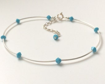Sterling Silver Anklets for Women, Swarovski Crystal Beaded Ankle Bracelet, Adjustable with Extender, Choice of Colours, Handmade, Gift Box