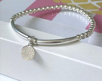 Sterling Silver Bracelets for Women, Leopard Print Disc Charm Gift for Her, UK Handmade 4mm Beaded 925 Stretch Bracelet, Custom Sizes