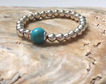 Sterling Silver Ring, Toe Ring, Beaded Ring, Stackable Rings, Stretch Ring, Gift for Women, Turquoise Ring, Pink Ring, Mother of Pearl Ring