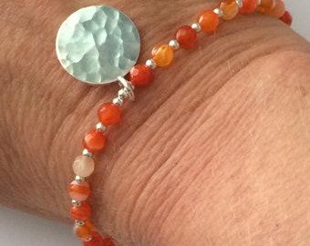Orange Agate Gemstone Bracelet, Sterling Silver Beads & Hammered Disc Charm, Handmade Gift for Women, Custom Sizes, Gift Box