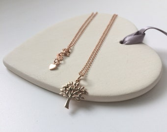 Rose Gold Tree of Life Necklace, Gift for Women, Tree Charm on Mini Belcher Chain, Layering Pendant Necklace, Vermeil Jewelry, Handmade