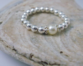 Silver Ring for Women, Sterling Silver Beaded Ring, Cream Swarovski Pearl Ring, Stacking Ring, friend gift, gift for her, gift for women