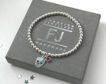 Sterling Silver Beaded Stretch Skull Charm Bracelet, Choose Colour / CZ Birthstone Charms, Handmade UK, Halloween Gothic Gift for Women