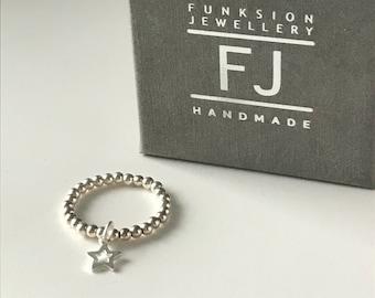 Sterling Silver Rings for Women, Stretch Star Charm Toe Thumb Ring, Handmade Beaded Elastic Ring Gift for Her, 2.5mm Ball Beads