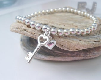 Sterling Silver Key to my Heart Charm Bracelet, 4mm Beaded Stretch Bracelet, Handmade Gift for Women