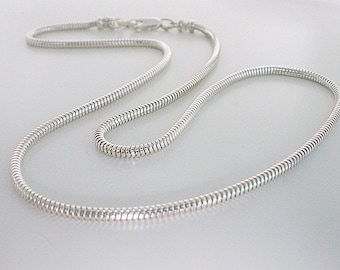 Mens Sterling Silver Necklace, Solid 2.4mm Round Snake Chain, Gift for Husband, Boyfriend, Dad, Brother, Custom Sizes 18-25""