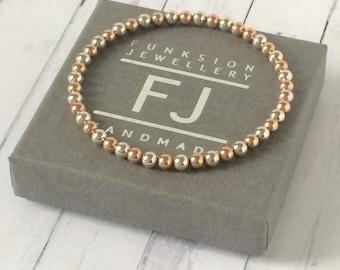 Rose Gold Bracelets for Women, Simple Sterling Silver and Rose Gold Filled Beads, Handmade Stretch Bracelet for Her, Custom Sizes