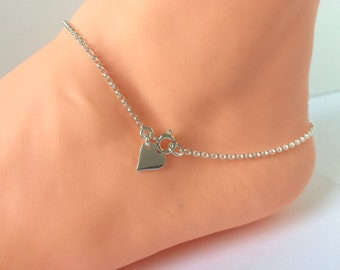 Sterling Silver Tiny Heart Charm Ankle Bracelet, Dainty Ankle Chain, Foot Jewelry for Women, Girls, Gift Box, Custom Sizes, Handmade