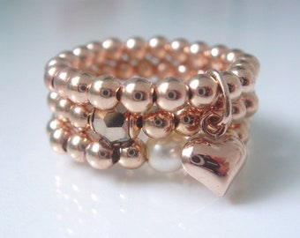 Rose Gold Beaded Rings for Women, Set or Single Ring with Heart Charm, Swarovski Pearl, Crystal Beads, Handmade, Gift Box, 3mm Stretch