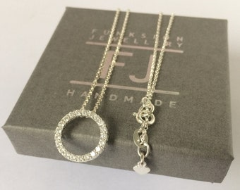 Sterling Silver Necklaces for Women, Circle of Life, Cubic Zirconia Pave Pendant on Rolo Chain, CZ Charm, Handmade, Custom Sizes, Gift