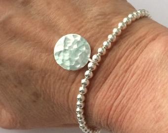 Sterling Silver Hammered Disc Charm Bracelet, 4mm Round Ball Beaded, Stretch Bangle, Handmade Gift for Women, Custom Sizes