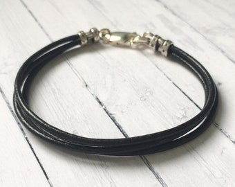 Mens Leather and Sterling Silver Bracelet, Triple Strand Black,  Handmade, Custom Sizes, Personalise, Gift for Women, Boyfriend, Gift Box