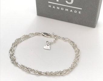 Sterling Silver Bracelet for Women, Handmade Double Strand Chain Adjustable Bracelet, Heart Charm Extender, Custom Sizes