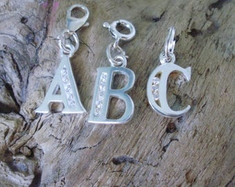 Rhinestone Letter Charms, Clip-on Charms, Sterling Silver Initial Alphabet, for Bracelets, Necklaces, Zippers, Bags, Pendants, Handmade