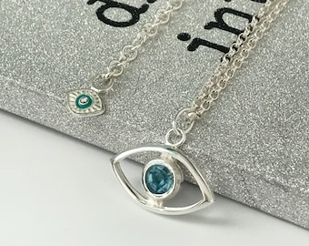 Sterling Silver Necklaces with Pendant, Evil Eye Necklace with Extender, UK Handmade Third Eye Protection Necklace, Gift for Women
