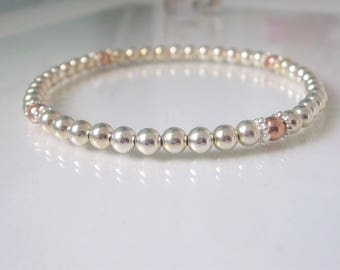 Sterling Silver & Rose Gold Bead Bracelets for Women, 4mm Beaded Stretch Bangle Gift for Her, Handmade, Custom Sizes, Gift Box