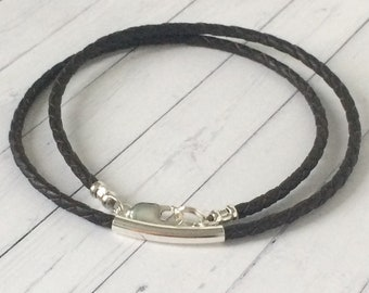 Mens Leather Necklace, Sterling Silver Beaded, 3mm Black or Brown Braid, Gift Box, Custom Sizes, Handmade